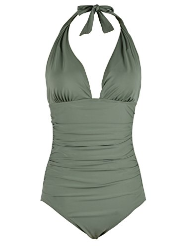 Firpearl Women's Retro 50s One Piece Swimsuit V Neck Halter Ruched Bathing Suit Green 6