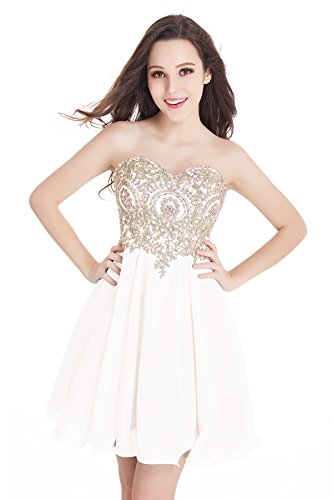 Women's Short Prom Dresses Homecoming Dress Juniors Graduation Dress White,4
