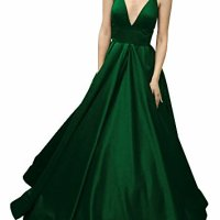 Yangprom Womens Long Prom Dresses Spaghetti Straps Satin Evening Dress with Pockets 4, Green