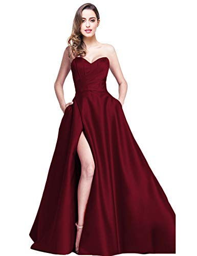 Jicjichos Women's Strapless Evening Dresses Satin High Slit with Pocket Long Homecoming Dress J212 Size 10 Burgundy