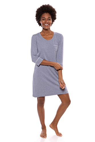 Women's Sleep Shirt 3/4 Sleeve – Classic Nightshirt for Her by Texere (Zizz, Heather Atlantic, Small) Top Ideas for Her TX-WB040-004-21U2-R-S
