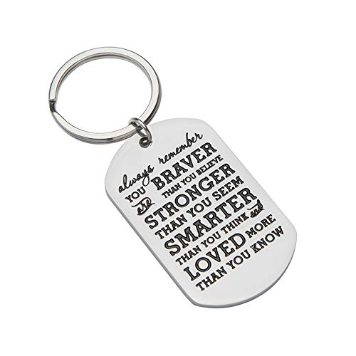 Inspirational Gifts for Teenage Girl Women Boy Men Christmas Gifts Personalized Engraved Keychain Always Remember You are Braver Keychain Best Stocking Stuffers Graduation Birthday Gifts for Men