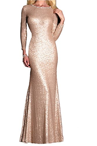 Honey Qiao Sequins Scoop Bridesmaid Dress Long Sleeves Modest Evening Party Gown Rose Gold