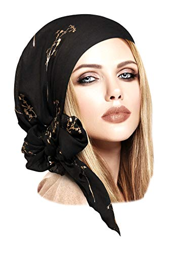 ShariRose Soft Lightweight pre-Tied Head-Scarf Tichel Weightless Collection! Over 50 Colors! (Black Gold Branch Long)