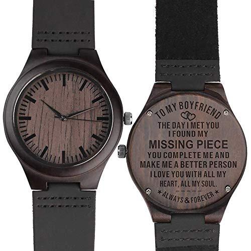 to My Boyfriend Wooden Watch Engraved Best Boyfriend Gifts Leather Strap Personalized Anniversary Birthday Gifts for Man Him Ebony Black