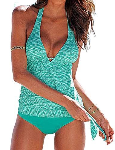 tengweng Women Halter Tankini Tummy Control Swimwear Tank Top Retro Printed Swimsuit Two Piece Bathing Suit XXL Green