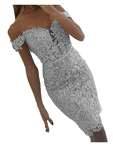 DYS Women's Short Lace Prom Evening Dress Beaded Homecoming Dress Off Shoulder Silver US 6