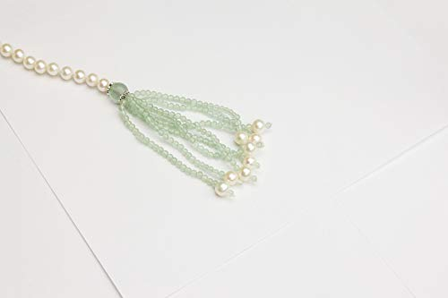 HinsonGayle AAA 7-7.5mm Freshwater Cultured Pearl & Green Aventurine Tassel Lariat Sautoir Necklace-44 in length