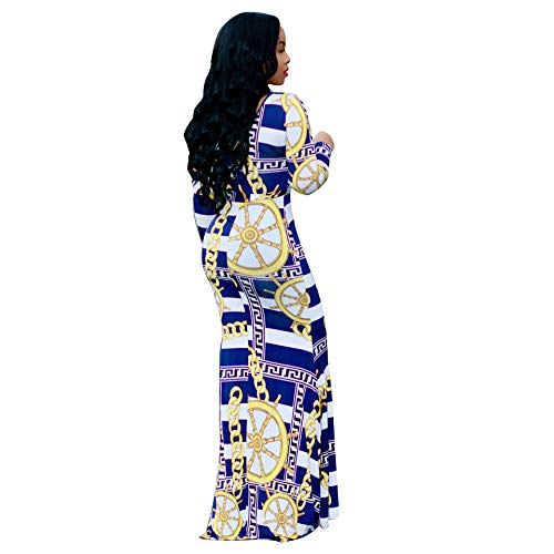 Sexy Maxi Dresses for Women Long Sleeve Casual Plus Size Beach Summer Party Loose fit Dress Pants Stretch Blue XL