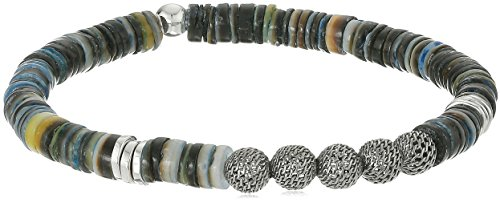 Tateossian Seychelles Sea Shell Ruthenium Mesh Beads Blue Grey Bracelet, Large
