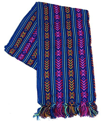 XL 9 ft Long Doula Mexican Rebozo Shawl (Doula Royal Blue w/Design)