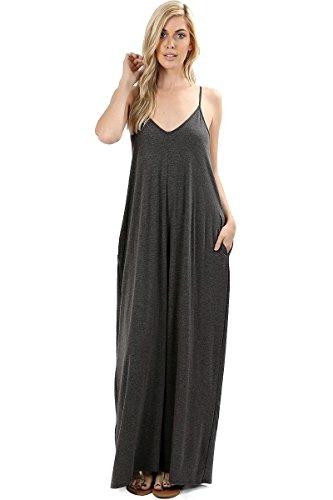 Zenana Premium 1024 Women's Long Maxi Casual Summer Beach Plain Loose Cami Dress Side Pockets (Charcoal, Large)