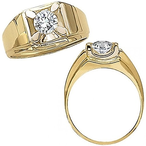 0.50 Carat G-H Diamond Solitaire Engagement Anniversary Fancy Mens Man Ring 14K Yellow Gold
