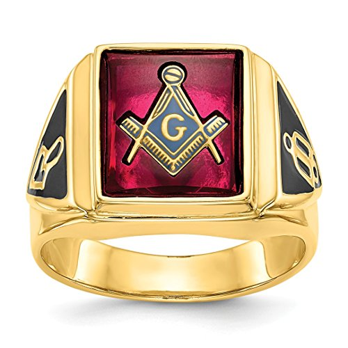14k Yellow Gold Mens Synthetic Red Ruby Masonic Freemason Mason Band Ring Size 10.00 Man Fine Jewelry Gift For Dad Mens For Him