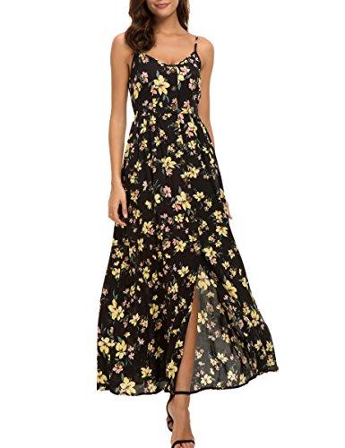 Honeyuppy Women's Floral Print Button Down Sleeveless Spaghetti Strap Summer Maxi Dress (S, Floral 1)