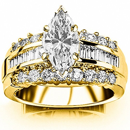 1.6 Carat t.w. GIA Certified Marquise Cut 14K Yellow Gold Channel Set Baguette and Round Diamond Engagement Ring (G-H Color VS1-VS2 Clarity Center Stones)