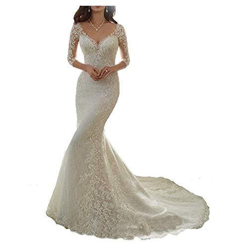 Cardol Flower Appliques Mermaid Half Sleeves Lace Wedding Dresses Bridal Wedding Gowns