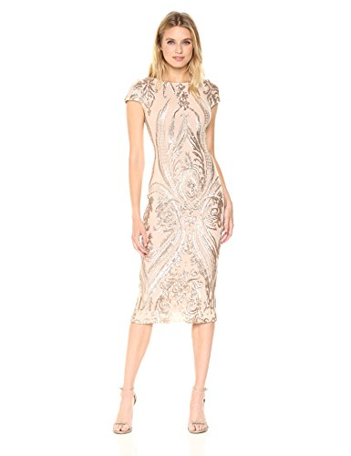 Dress the Population Women's Marcella Cap Sleeve Scoop Back Sequin Midi Dress, Champagne/Nude, XS