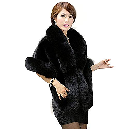 Fashion Women's Faux Fur Shawl- Women's Faux Fur Shawl Stole Wrap Cape Scarf for Wedding,Party etc (Black)