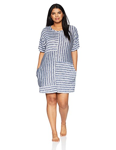 kensie Women's Plus Size Striped Sweater Knit Sleepshirt