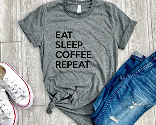 Mom Gift For Mother Coffee Lover Shirt Cute Womens Eat Sleep Repeat T Birthday