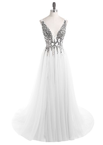 Prom Dresses Deep V Neck Sequins Tulle and Lace Sex High Split Long Evening Dresses HFY170503-White-US4