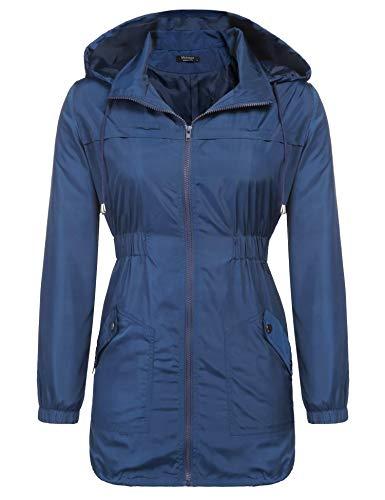 SE MIU Women's Active Outdoor Hiking Waterproof Raincoat Hooded Rain Jacket Windbreaker with Lining