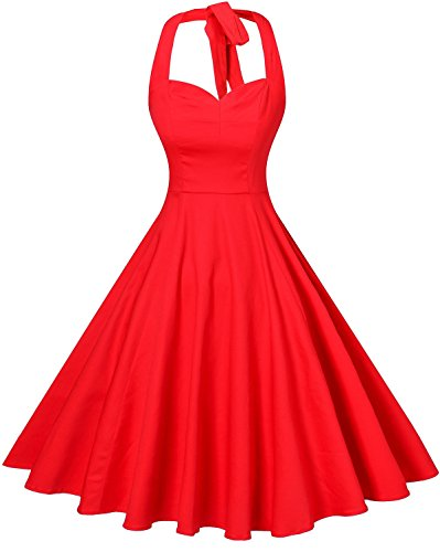V Fashion Women's Rockabilly 50s Vintage Polka Dots Halter Cocktail Swing Dress,Pure Red,Large