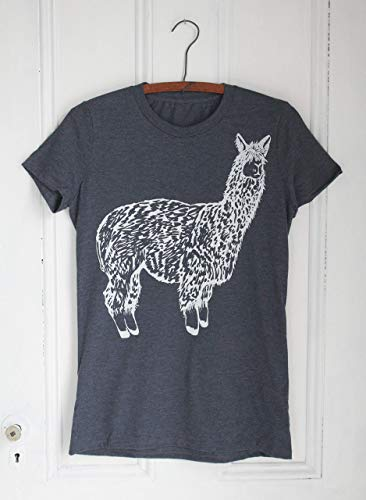Women's Organic Llama T-shirt, Hand Screen Printed with Eco Friendly Ink, Crew Neck, Super Soft Tri-blend