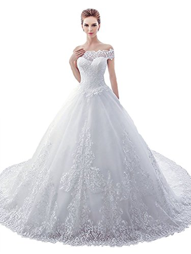 Sisjuly Women's Sweetheart Lace Off The Shoulder Ball Gown Wedding Dress 8 White