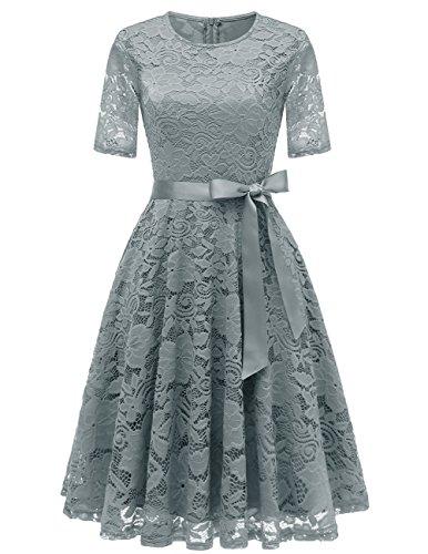 DRESSTELLS Short Bridesmaid Scoop Floral Lace Dress Cocktail Formal Party Dress Grey 3XL