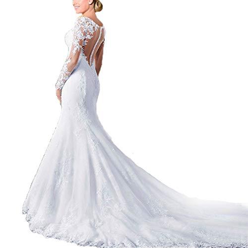Fashionbride Women's See Through Back Long Sleeve Mermaid Wedding Dress 2019 Bridal Gowns White-US8