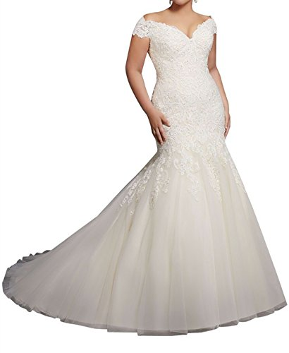 Miao Duo Off Shoulder Mermaid Lace Bridal Wedding Dresses for Plus Size Bride Ivory
