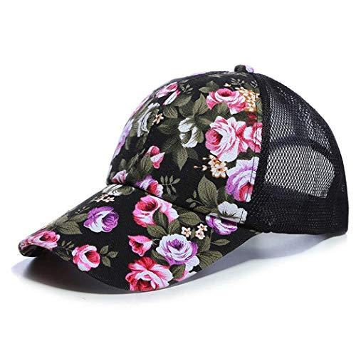 Smiela Women's Floral Print Mesh Trucker Cap Casual Comfort Headwear Baseball Cap