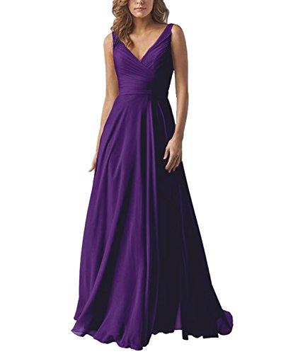 Women's V-Neck A-line Long Bridesmaid Dress Chiffon Elegant Prom Evening Dress Darkpurple US4