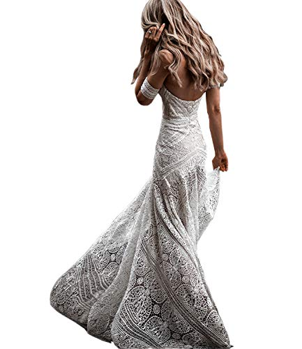 Women's Bohemian Wedding Dresses Sweetheart Mermaid Lace Bridal Gown (Ivory,US4)