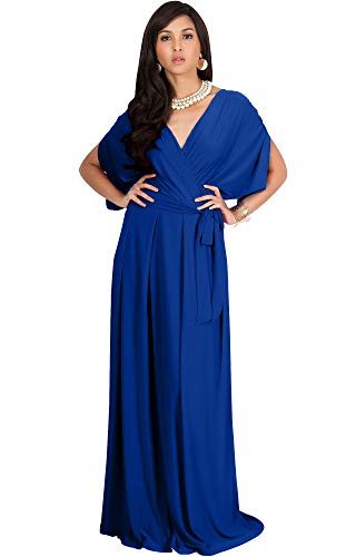 KOH KOH Petite Womens Long Semi-Formal Short Sleeve V-Neck Full Floor Length V-Neck Flowy Cocktail Wedding Guest Party Bridesmaid Maxi Dress Dresses Gown Gowns, Cobalt/Royal Blue XS 2-4