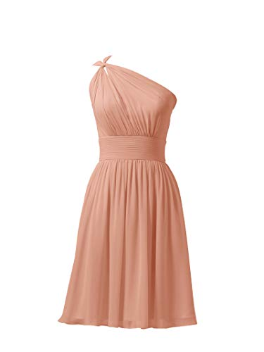 Alicepub Chiffon Bridesmaid Dresses Short Prom Party Dress Evening Gown, Peach Pink, US0