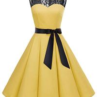 Bbonlinedress Women's 1950s Vintage Rockabilly Swing Dress Lace Cocktail Prom Party Dress Yellow M