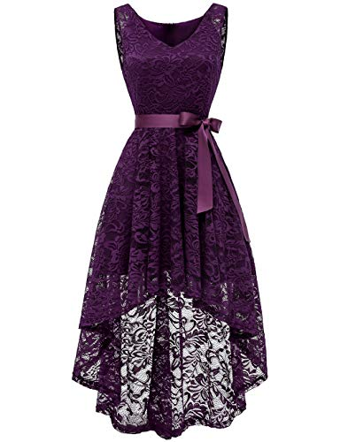 BeryLove Women's Floral Lace Hi-Lo Bridesmaid Dress V Neck Cocktail Formal Swing Dress BLP7018GrapeM