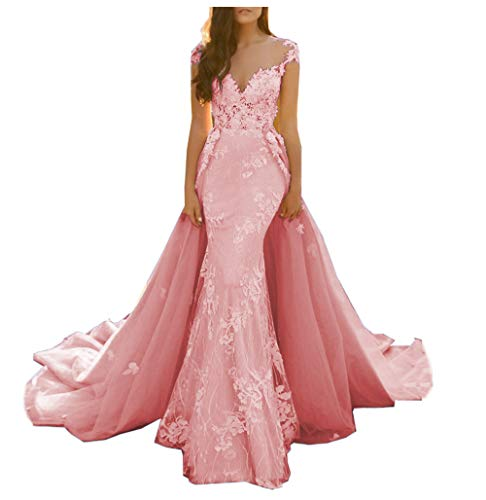 MariRobe Women's Lace Applique Sweep Train Evening Dress Illusion Back Prom Dresses Formal Party Gowns US8 Pink