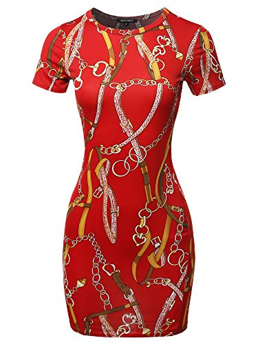 Casucal Printed Sexy Body-con Mini Dress – Made in USA Chain Red S