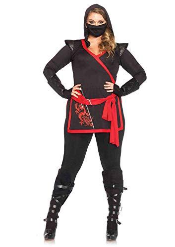 Leg Avenue Women's 4 Pc. Ninja Assassin Plus-Size Costume, Black/Red, 1X / 2X