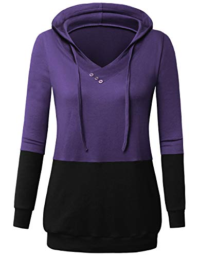 UXELY Women's Two Color Long Sleeve Tunic top Lightweight Hoodie Pullover Pocket Thin Sweater Shirt Purple