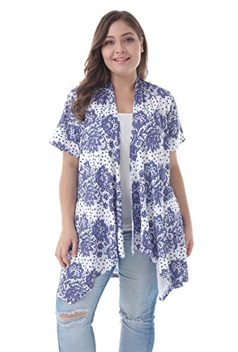 ZERDOCEAN Women's Plus Size Short Sleeve Asymetric Hem Open Front Lightweight Soft Printed Drape Cardigan 109 1X