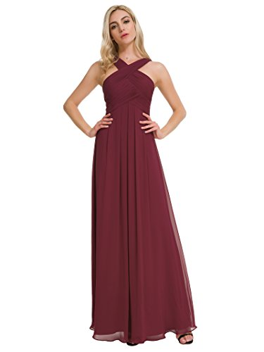 Alicepub Pleated Chiffon Bridesmaid Dresses Formal Party Evening Gown Maxi Dress for Women, Burgundy, US4