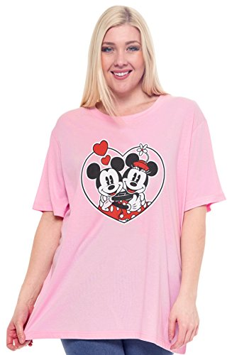 Disney Plus Size Women's T-Shirt Minnie & Mickey Mouse Graphic, Pink, Size 3.0