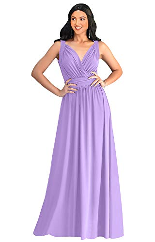 KOH KOH Womens Long Sleeveless Flowy Bridesmaids Cocktail Party Evening Formal Sexy Summer Wedding Guest Ball Prom Gown Gowns Maxi Dress Dresses, Lilac Light Purple L 12-14