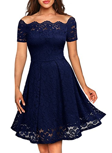 MISSMAY Women's Vintage Floral Lace Short Sleeve Boat Neck Cocktail Party Swing Dress, X-Large, Navy Blue