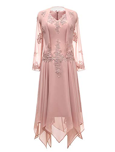 tutu.vivi V-Neck Chiffon Tea Length Mother of The Bride Dress Long Sleeves Lace Formal Evening Gowns with Jacket Blush Size12